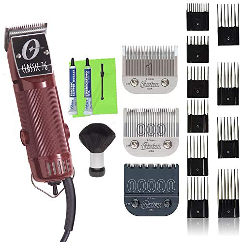 OSTER Classic 76 Universal Motor Clipper 76076010 with Bonus 00000 Detachable Blade, 10 Guide Comb Set and Neck Duster