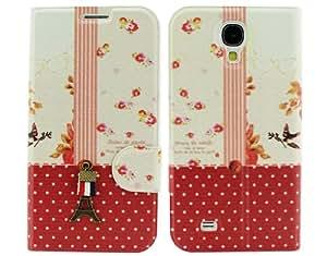 BONAMART® TM Rojo Torre Eiffel Libro Folio Carcasa Caso Funda PU Cuero Case Cover Para Samsung Galaxy S4 SIV S 4 IV i9500