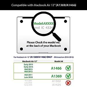 GMYLE Navy Blue Macbook Air 13 inch case Matte Plastic Scratch Guard Cover for Macbook Air 13 inch (Model: A1369 & A1466)