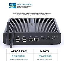 HYSTOU FMP05B Intel Core I7-5550U, Gaming Mini Pc, Mini Desktop Computer,Finless Mini Box PC,Power Interuption Recovery,Support Dual Display,Windows 10 (64 bit) (8GB RAM 256GB SSD)
