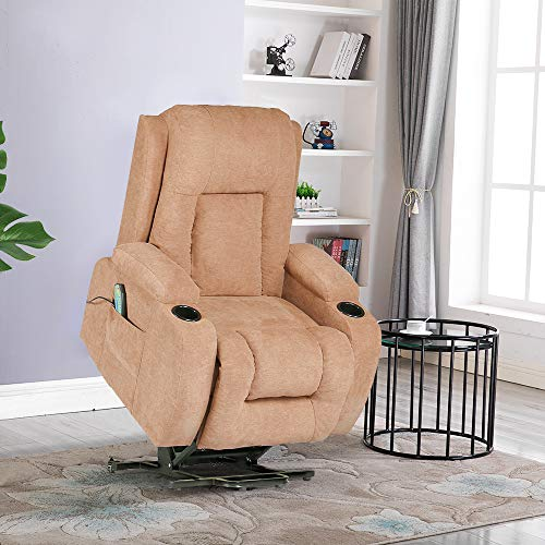 Lift Chair Recliners,Power Lift Chairs for Elderly 160 Degree Recline Soft Warm Fabric Sofa Living Room Chair with Remote Control Gentle - Cane Folding Chairs Back