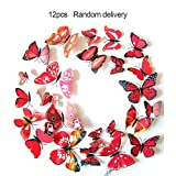 Liobaba 12pcs Butterfly Wall Stickers Double Layer 3D Butterflies DIY Decorations Butterflies Decors Butterfly Magnet Wall Stickers Decorations
