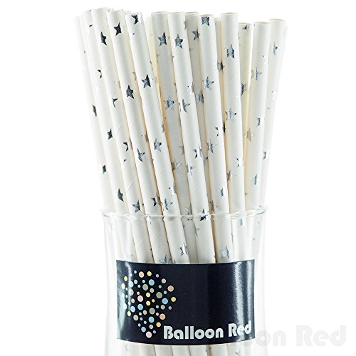 Biodegradable Paper Drinking Straws (Premium Quality), Pack of 100, Stars - Metallic Glossy Silver (Stars Silver Metallic)