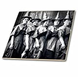 Vintage Halloween Witches Coven Early 1900s Scary Tile is great for a backsplash, countertop or as an accent. This commercial quality construction grade tile has a high gloss finish. The image is applied to the top surface and can be cleaned with a m...