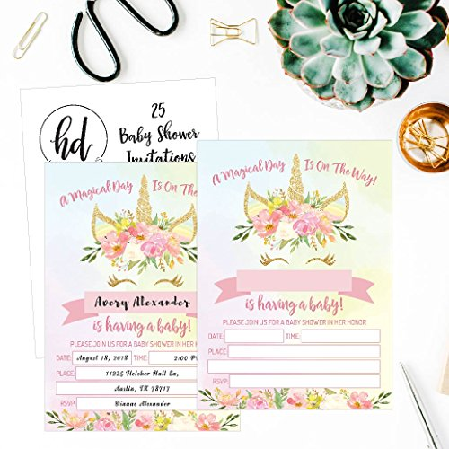 25 Pink Blush Gold Girl Unicorn Baby Shower Invitations, Cute Floral Printed Fill or Write In The Blank Invite, Flower Shabby Chic Unique Custom Vintage Coed Party Card Stock Paper Supplies Decoration by Hadley Designs (Image #1)