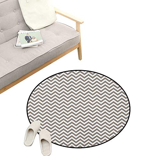Chevron Round Rug ,Grey and White Zig Zag Lined Striped Pattern Modern Design Artistic Print, Art Deco Non-Slip Backing Machine Washable 23
