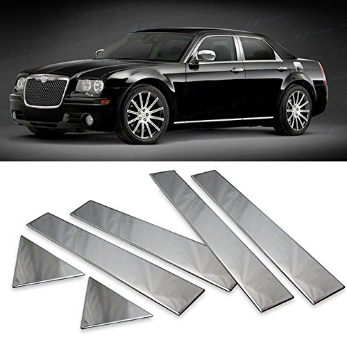Door Pillar Fits 2005-2010 CHRYSLER 300 & 300C | Chrome Door Pillar Post Trim by IKON MOTORSPORTS | 2006 2007 2008 2009