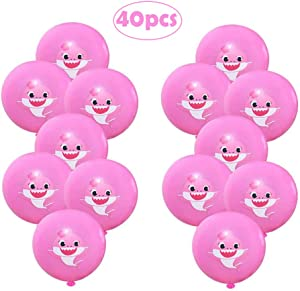Pink Baby Shark Latex Balloons Baby Shark Birthday Decorations Shark Theme/Under the Sea/Baby Shower Birthday Party Supplies For Baby Girls(40pcs)