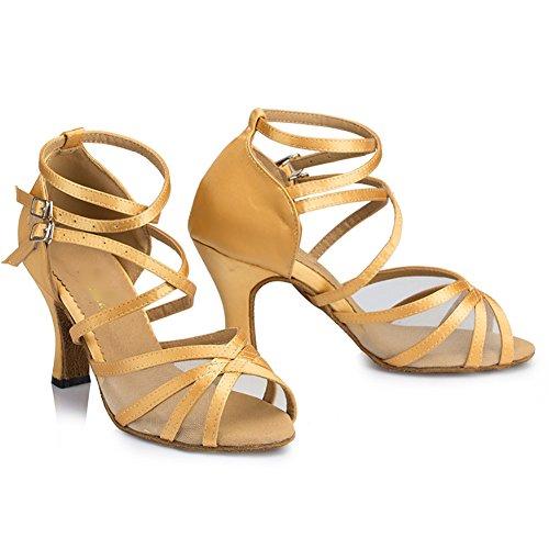 WYMNAME Mujeres Superficie Net Zapatos De Baile Latino,Cruzar Vendaje Tacones Fondo Blando Modernos Zapatos De Baile Champán