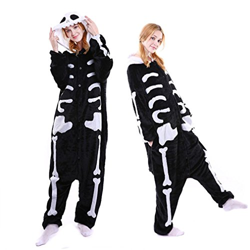 Newsuy Kigurumi Skeleton Costume Pajamas Skeleton Onesie Women Pajamas Skull Fleece