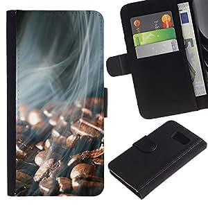JackGot ( Granos de café Humo ) Sony Xperia Z3 Compact / Z3 Mini (Not Z3) la tarjeta de Crédito Slots PU Funda de cuero Monedero caso cubierta de piel