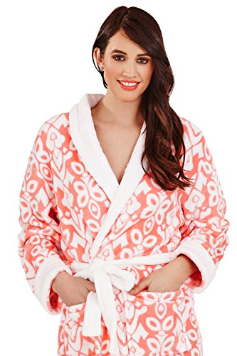 Loungeable Boutique - Bata - recta - para mujer Coral - Long Robe