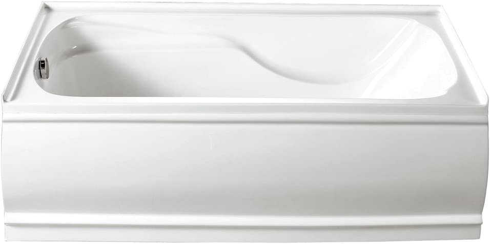 KINGSTON BRASS VTDE603221L 60-Inch Contemporary Alcove Acrylic Bathtub with Left Hand Drain and Overflow Holes , White