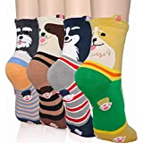 DearMy Womens Cute Design Casual Cotton Crew Socks | Good for Gift Idea| One Size Fits All | Gifts for Women (Dog Ringle 4 Pairs)