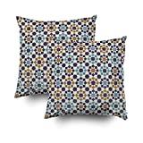 ROOLAYS Decorative Throw Square Pillow Case Cover 20X20Inch,Cotton Cushion Covers Islamic abstract geometric background Both Sides Printing Invisible Zipper Home Sofa Decor Sets 2 PCS Pillowcase