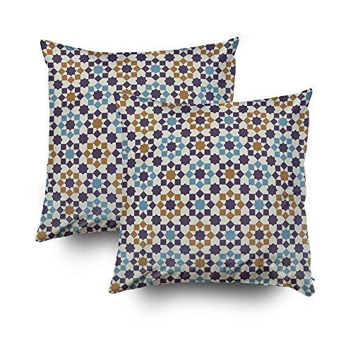 ROOLAYS Decorative Throw Square Pillow Case Cover 18X18Inch,Cotton Cushion Covers Islamic abstract geometric background Both Sides Printing Invisible Zipper Home Sofa Decor Sets 2 PCS Pillowcase by ROOLAYS