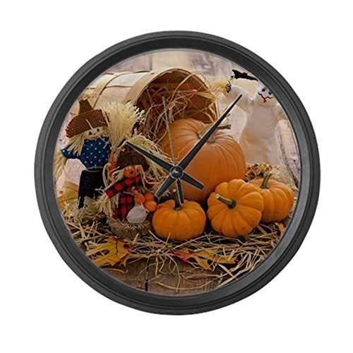 Fall Season - orange pumpkin round wall clock - fall  decor