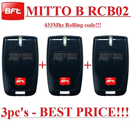 3 X BFT Mitto B RCB02 R1 2-channel remote controls, 433,92Mhz Rolling code, The New Version of BFT Mitto2. 3 Top quality BFT B RCB02 transmitters for THE BEST PRICE!!! by BFT