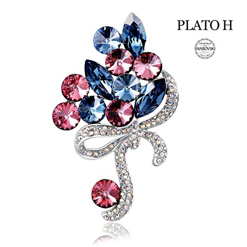 PLATO H Crystal Brooch Luxury Pin Brooch Woman Jewelry Gifts Crystals from Swarovski Woman Fashion (March Hare Costume Female)