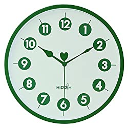 Hippih Silent Wall Clock , 10 Inch Battery Operated Round Clock , Easy To Read For Home/Office/School, Dark Green