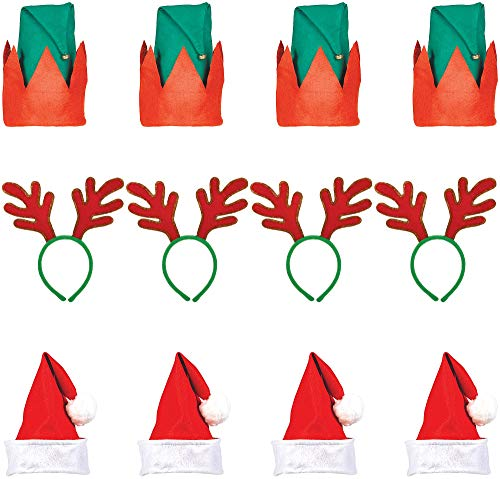 (Party City Christmas Hat and Headband Kit for 60 Guests, Holiday Party Supplies, Includes Santa and Elf)