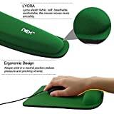 Nex Mouse Mat with Keyboard Wrist Rest Pad Kit Comfortably Made of Memory Foam (Dark Green)