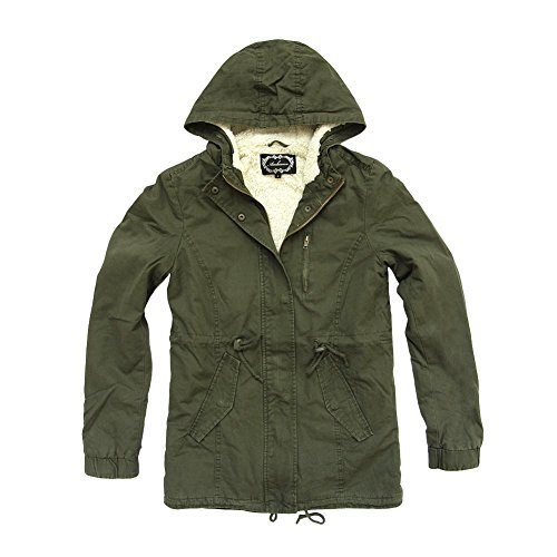 Women's Military Army Hooded Sherpa Lining Drawstring Parka Jacket Coat - Green Sherpa