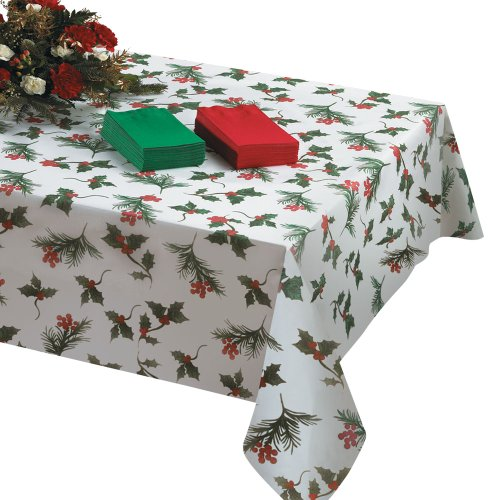 Hoffmaster 832147 8108-X03 Linen-Like Winterberries Tablecover, 108