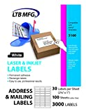 "LTB MFG Laser Inkjet Printer Shipping Labels, White, 3000 Labels, 100 Sheets, 30 Labels Per Sheet,Shipping labels for USPS UPS FedEx eBay Amazon Paypal Endicia Stamps (30 Per Sheet 2 5/8"" x 1"")"