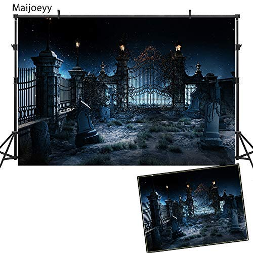 Maijoeyy 7x5ft Halloween Photography Backdrops Halloween Backdrop for Pictures Night Cemetery Photo Booth Background Halloween Photography Props MYH-HJ02343-D1