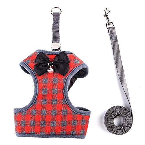 Picture of RYPET Small Dog Harness and Leash Set - No Pull Pet Harness with Soft Mesh Nylon Vest for Small Dogs and Cats Red L