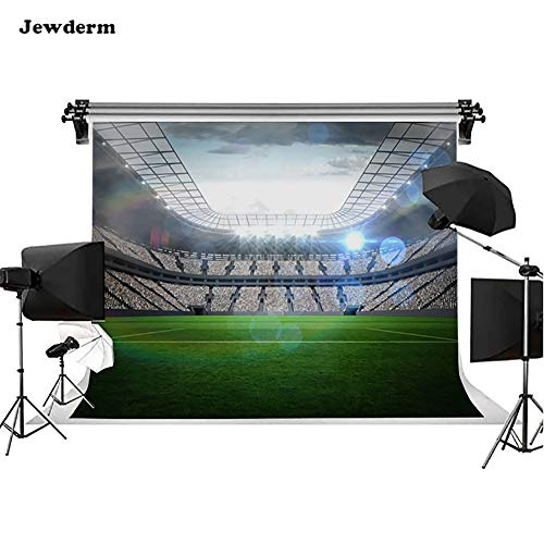Jewderm 10x6.5ft Football Field Photo Background World Cup Sports Stadium Photography Backdrop Children Game Studio Props for Kids Newborn Baby Shower Birthday Party ()