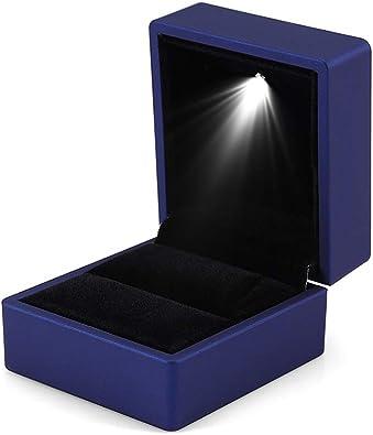 YuamMei 1pc Caja de anillo LED, Caja de anillo con luz cuadrada, Caja de almacenamiento de exhibición de joyería para la Boda, Regalo (azul): Amazon.es: Joyería