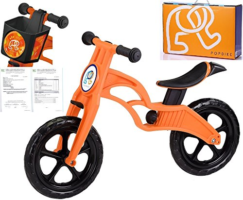 POPBIKE Children Kids Learning Balance Bike 12 EN71 & CE Certified Safety(Orange)
