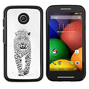 LECELL--Funda protectora / Cubierta / Piel For Motorola Moto E -- invierno leopardo de las nieves manchas blancas negras --