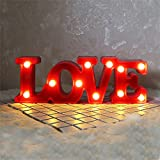 CSKB LED Love Letter Lights For Wedding Light Up Love Marquee Sign Battery Operated Romantic Night Light Table Lamp Christmas Xmas Gift Home Party Wall Hanging Decoration Red Size S