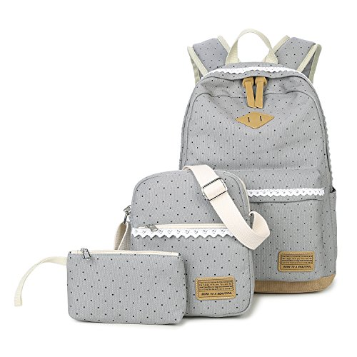Abshoo Polka Dot Backpacks For Girls Canvas School Bookbags Teen Backpacks Set (Grey)