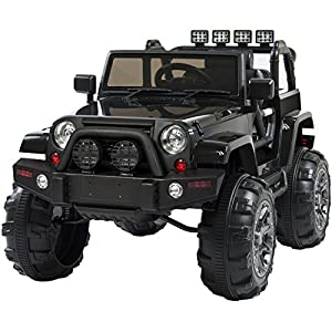 Best Choice Products 12V Powered Ride On Car Truck Remote Control, 3 Speeds, Spring Suspension, LED Lights, Black