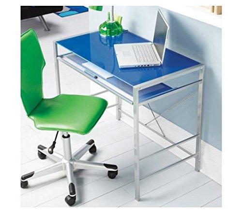 Mainstays Glass-Top Desk. (Navy Blue)