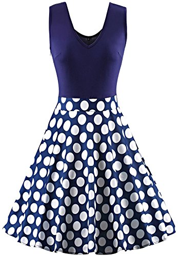 Polka Dot Pinup Dress (Jiuzhoudeal Women's Vintage Sleeveless Flare Floral Contrast Swing Casual Party Mini Dress (Small, Polka Dot))