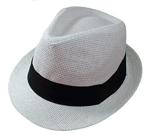 Gelante Summer Fedora Panama Straw Hats with Black Band (Black Panama Straw Hat)