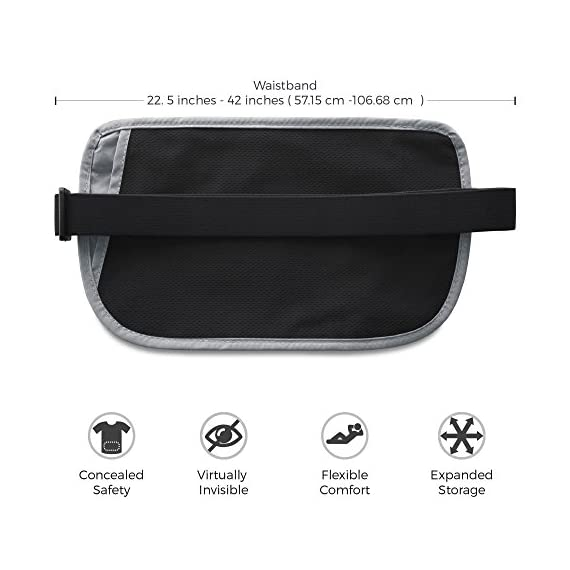 Zero Grid Money Belt w/RFID Blocking - Concealed Travel Wallet & Passport Holder 3 PROTECTS YOUR VALUABLES & IDENTITY - A money belt for travel for men and women. This belt wallet for travel conceals cash, credit cards & other valuables from pickpockets. Built in RFID Blocking safeguards your passport and credit cards and personal information inside the wallet belt against identity theft. BONUS GIFT - 7 RFID Blocking Sleeves for your ultimate peace of mind (6 Credit Card & 1 Passport) - For use ONLY when your passport or credit cards aren't inside the money belt. DESIGNED FOR SAFE INTERNATIONAL TRAVEL - Invaluable for crowded marketplaces, airports, an airplane, buses, trains, sporting events and music festivals. A thin travel belt and passport wallet for women and men that is virtually invisible to thieves, feel secure in any environment. Wear under your clothes for pickpocket proof protection. COMFORTABLE & FULLY ADJUSTABLE - Constructed from ultra-lightweight, water-resistant 210D Ripstop Nylon. Breathable, moisture-wicking back eliminates uncomfortable moisture and heat. Soft elastic waistband adjusts to fit Men and Women.