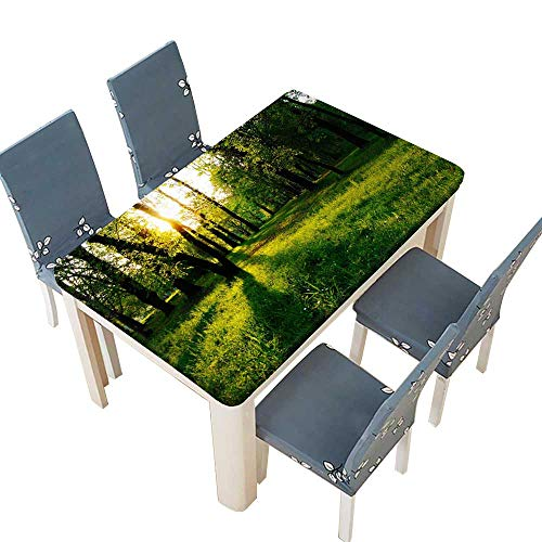 PINAFORE Tablecloth The Sunlit Woods and Meadows Table Top Cover W49 x L88.5 INCH (Elastic Edge)