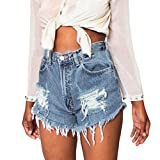 XWDA Womens Vintage Ripped Womens High Waisted Denim Shorts Jeans Hot Pants