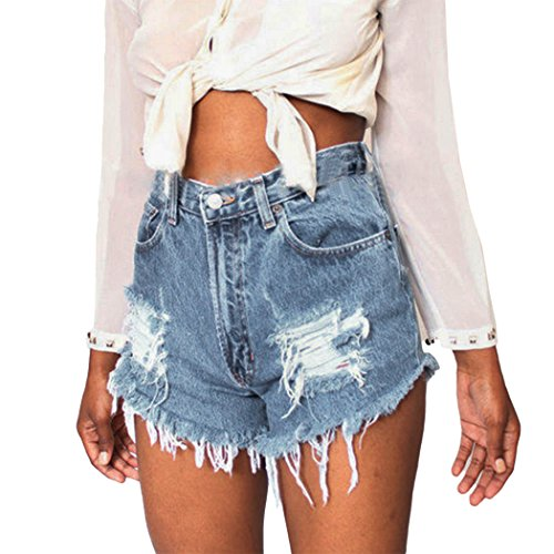 Distressed Vintage Shorts (XWDA Womens Vintage Ripped Womens High Waisted Denim Shorts Jeans Hot Pants)