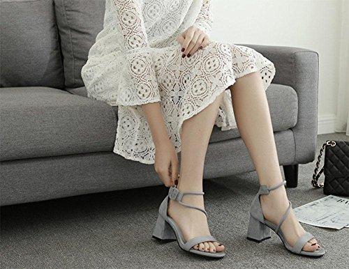 MEILI Frauen dick mit runde Kappe Sandalen 3