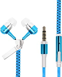 Aawqeo Wireless Ear Buds Glowing Zipper Headphones Luminous Headset Sport Earbuds Music Wired Earphones for iPhone for Samsung for Xiaomi 3.5mm Plug (Color : Blue)