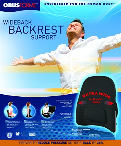ObusForme Wideback Backrest Support Engineered For The Human Body, Removable & Adjustable Lumbar Support, Reduce Pressure On Your Back, Extra Wide For Broader Backs, S Shape Back Support by ObusForme (Image #3)