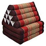 Thai mattress 3 folds with triangle cushion, red/burgundy, relaxation, beach, pool, meditation garden (82303)