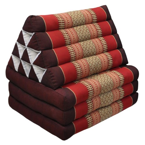 Thai mattress 3 folds with triangle cushion, red/burgundy, relaxation, beach, pool, meditation garden (82303) by Wilai GmbH